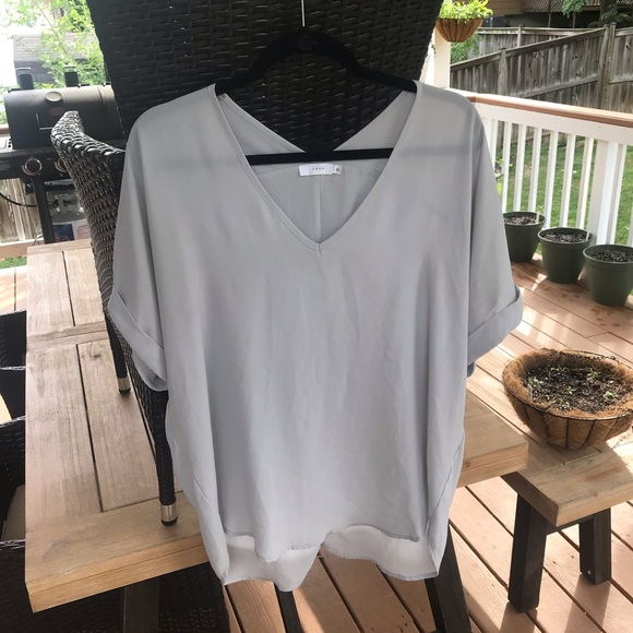 Lush Tops - Light Gray Lush V-Neck Top